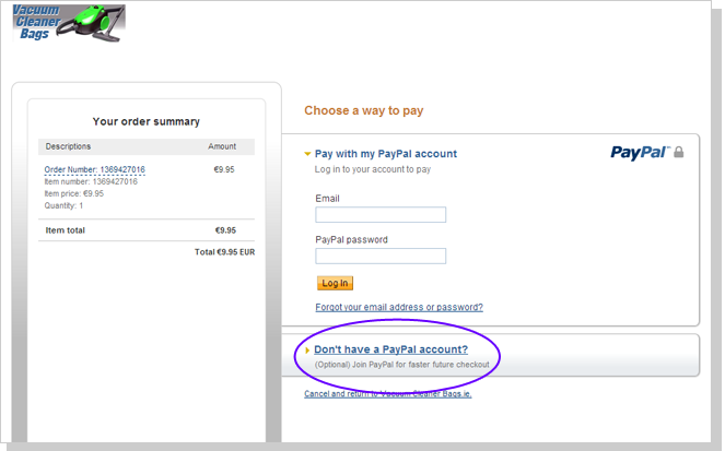 Image of screen showing payment via PayPal